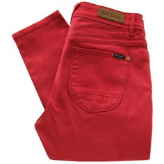 Paul by Paul Smith F222 Red Stretch Skinny Jeans ($220) ❤ liked on Polyvore