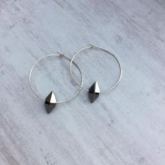 2b0498b8a Silver Hoop Earrings with Rose Gold Swarovski Crystal | Beautiful ...