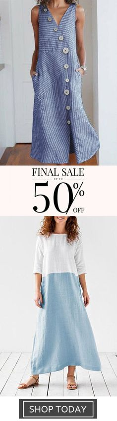 Round Neck Women Summer Dresses Daily Casual Dresses,V-Neck Color Block Buckle Sleeveless Casual Striped Dresses Plus Size Maxi Dresses, Casual Dresses, Short Sleeve Dresses, Summer Dresses For Women, Bobs, Striped Dress, Vintage Dresses, Clothes, Color