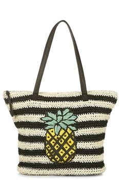 Topshop 'Pineapple' Woven Tote available at #Nordstrom Perfect for summer www.tailoredtogether.com