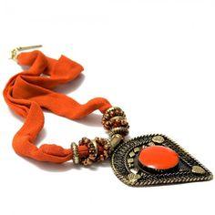 Pyramid Pendant Fabric Necklace, $27