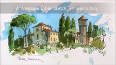 An Urbansketch in Italy. Timelapse painted on location in Florence