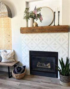 Fireplace wall, fireplace surrounds, fireplace design, white fireplace, far White Fireplace, Farmhouse Fireplace, Fireplace Wall, Fireplace Surrounds, Fireplace Design, Farmhouse Decor, Fireplace Ideas, Modern Farmhouse, Above Fireplace Decor