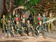 A diorama picturing the action figures for all the original members of the G.I.Joe team, released around 1981-1982