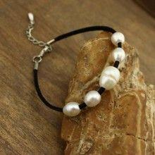 Black leather cord pearl beads adjustable bracelet, leather bracelet ,pearl bracelet, ETS - B228
