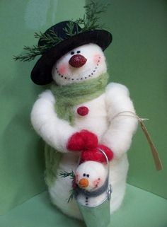 "*NEEDLE FELTED ART ~ Sonny the Snowman 9"" Felted Wool Snowman - NEW for 2013"