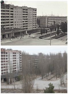 A combination of images, taken in 1982 and on February 24, 2011, shows before and after view of the abandoned city of Prypiat near the Chernobyl nuclear power plant.