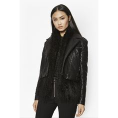 French Connection Chicago Faux Fur Jacket (€90) ❤ liked on Polyvore featuring outerwear, jackets, black, french connection, fake fur jacket, faux fur jackets, moto jackets and motorcycle jacket