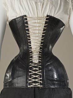 Woman's fetish corset and boots, LACMA, c. 1900