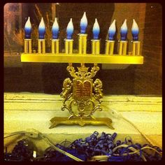 The menorat Hanukka in my lobby, Jackson Heights. #NYC #Hanukkah #Chanukah #Jews #AmericanJews #hanukkiyya #menorah #JacksonHeights #winter  My building, Jackson Heights, 10 December 2012. (Photograph by Elyaqim Mosheh Adam.)