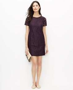 """Scroll call: we designed this pretty lace dress with a sharp eye on what's fresh, forward and distinctively flattering. Jewel neck. Short sleeves. Hidden back zipper with hook-and-eye closure. Lined body, unlined sleeves. 18 1/2"""" from natural waist."""