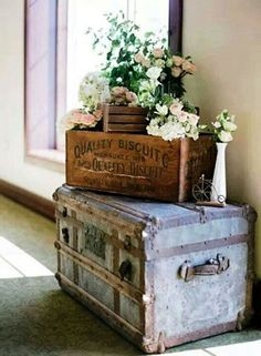 Spring Home Decor Ideas - crate and flower inspired rustic vignette