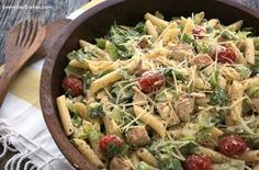Craving a salad for lunch? Give this Chicken Caesar pasta salad recipe a try via @everydaydishes