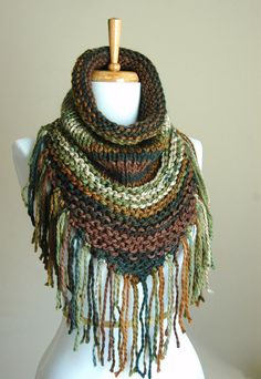 Knit Scarf Cowl Triangle Scarf with Fringe in Woodland Shades of Green and Brown Original Design