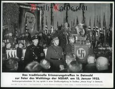 orig. WWII Press Photo - NSDAP meeting in Detmold to celebrate the election victory on Jan.15,1933 - Date of publication: Jan. 15, 1940