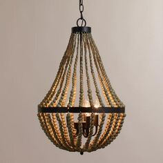 One of my favorite discoveries at WorldMarket.com: Small Wood Bead Chandelier