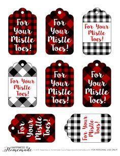"""""""For Your Mistle Toes"""" Gift Tag Printable + Spa Gift Basket Ideas - great idea for the Christmas holiday! #ad Happiness is Homemade"""
