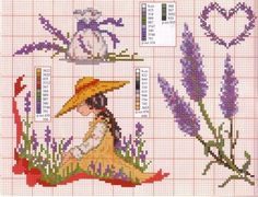 0 point de croix fille et lavande - cross stitch girl and lavender