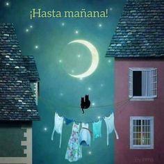 (no text) Good Night Moon, Night Time, Moon Illustration, Beautiful Moon, Moon Art, Stars And Moon, Cat Art, Oeuvre D'art, Art Pictures