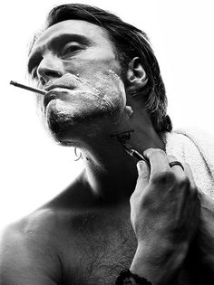 Mads Mikkelsen (not a fan of the smoking but he just looks like a real fucking *man* here! Mads Mikkelsen, Beautiful Men, Beautiful People, Sir Anthony Hopkins, I Love Cinema, Portraits, Hugh Dancy, Mans World, Attractive Men