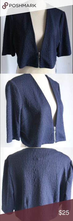 "Perceptions blue color short sleeve bolero  crop New With Tags Perceptions brand bolero blue color solid short sleeve 100% polyester zipper works properly stretchy measurements 16"" length 8"" side length 38"" bottom width 44"" chest width 13"" sleeve length perceptions Sweaters Shrugs & Ponchos"