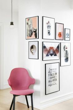 A photo gallery wall that goes round corners. The corner gallery wall with a pink chair for interest and to tie in colours. Unique Wall Art, Home And Deco, Hanging Art, Home Decor Inspiration, Design Inspiration, Home And Living, Living Room, Modern Living, Sweet Home
