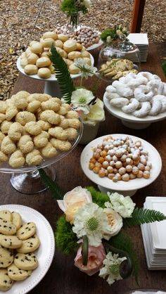Greek & Italian heritage cookie buffet for summer wedding