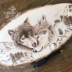 The finished wolves on a Basswood slice. Pyrography with a touch of White Prisma pencil for highlights. Dried and finally off to the UK ⚓️ #Timberlee #art #timberleepyrography #pyro #woodburning #pyrography #wolves #pyrographyart #woodart #rustic #custom #artist #etsyseller #animal #artoftheday #igholland #netherlands #decor #timberleeeu