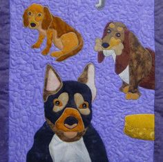 Dogs is a quilted applique pattern for a wall hanging by Tracey Campbell of www.topoftherangedesigns.com and Artfiberstitch