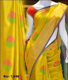 Look angelic dressed in this trendy yellow mayuri soft silk saree.