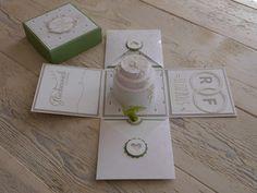 ...und noch eine tolle Explosionsbox zur Hochzeit.... Dieses mal in grün/weiß gehalten...sieht echt klasse aus!