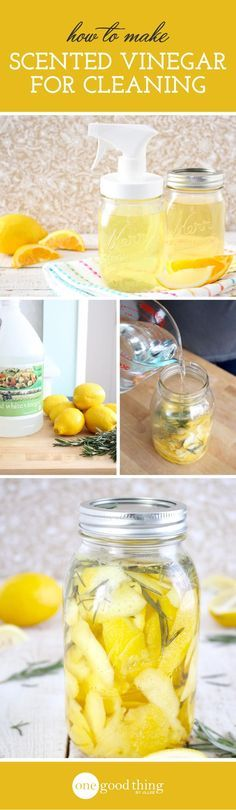 Earlier this year I wrote a blog post about how to make lemon-scented vinegar for cleaning. I loved the finished product, and still use it all the time to clean all sorts of things. It's nice to be ab