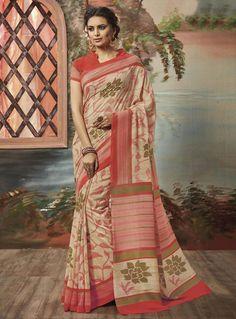 Beige Art Silk Saree With Blouse 86985