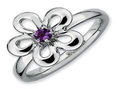 Sterling Silver Stackable Amethyst Flower Band Ring (Online at Gemologica.com)