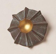 "Barbara Paganin.  Brooch ""Cobottero"" gold, silver oxidized"