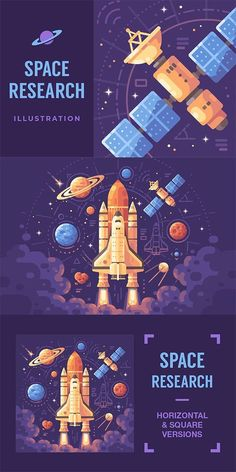 Colorful astronomy themed flat illustration space objects on a dark purple background space shuttle taking off planets stars asteroids and satellites vector nasa space shuttle lamp Abstract Illustration, Flat Design Illustration, Space Illustration, Web Design, Vector Design, Vector Art, Vector Illustrations, Creative Design, Portfolio Webdesign