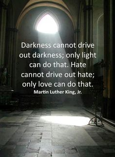 """Darkness cannot drive out darkness; only light can do that. Hate cannot drive out hate; only love can do that.""  Martin Luther King, Jr. #MartinLutherKingJr"