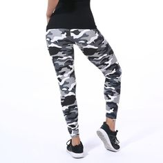 New Fashion 2017 Camouflage Printing Elasticity Leggings Green/Blue/Gray Camouflage Fitness Pant Legins Casual Legging For Women