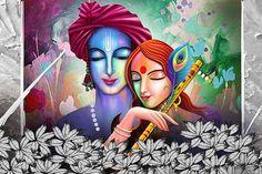 Ads Art Poster Wall decorative and Personalise Greeting cards Lord Ganesha Paintings, Krishna Painting, Madhubani Painting, Krishna Drawing, Krishna Art, Radhe Krishna, Buddha Painting, Shree Krishna, Hanuman