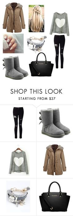 """""""❄️☕️❄️"""" by camille-hnq ❤ liked on Polyvore featuring Miss Selfridge, UGG and MICHAEL Michael Kors"""