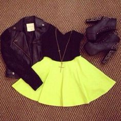 Shop The Look Skater skirt Skater Skirt Outfit, Neon Skirt, Skirt Outfits, Skater Skirts, Edgy Outfits, Cool Outfits, Summer Outfits, Look Fashion, Teen Fashion