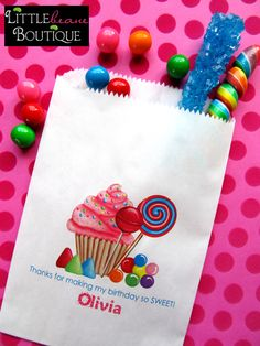Personalized Candy Bags, Oh Sweet Candyland, Favor bags, Candy Buffet, Birthday party, Sweets, Treats, Set of 24 by LittlebeaneBoutique on Etsy https://www.etsy.com/listing/97711132/personalized-candy-bags-oh-sweet