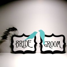 Bride and Groom Chair Signs Birds Feathers Black by MinksPaperie  $22 + Shipping