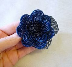 Dark Blue and Gunmetal French Beaded Flower Brooch, floral pin, women's fashion accessories, flower jewelry, seed bead flowers by LaurensCreations for $22.40 #zibbet