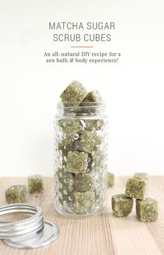 Whip up a batch of DIY matcha green tea sugar scrub cubes for a soothing, all-natural home spa experience. They're beautiful for bath & body gift baskets! Body Scrub Recipe, Diy Body Scrub, Diy Scrub, Spa Recipe, Recipe Mix, Sugar Scrub Cubes, Sugar Scrub Diy, Sugar Scrubs, Homemade Beauty