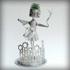 April Showers bring May Flowers  robot sculpture by leuckit, $155.00