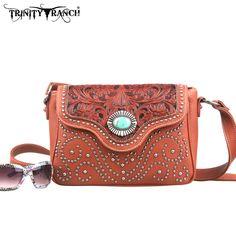 Montana West TR14-8395 Trinity Ranch Tooled Messenger Bag