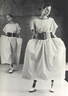 Perry Ellis, 1983. Striped dress, large belt, white espadrilles