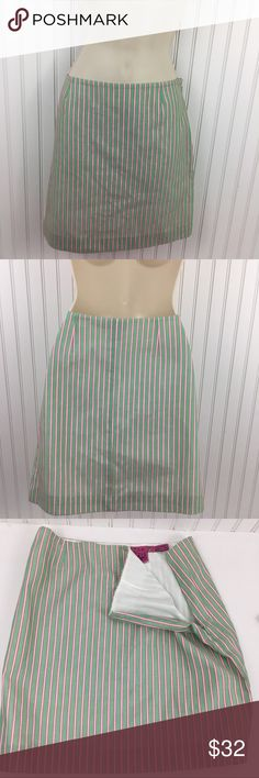"""TIBI Pink & Green Striped 100% cotton Mini Skirt TIBI pink green and white striped mini skirt. 100% cotton. Completely lined. Hidden side zipper with eye and hook closure. No rips stains or holes Approximate measurements flat across Waist: 14.5"""" Hips: 16.5"""" Length: 15.5"""" Tibi Skirts Mini"""