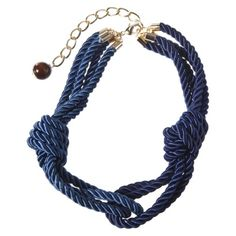 Navy and light blue nautical knot necklace